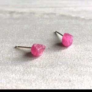Raw Fuchsia Tourmaline Crystal Earrings